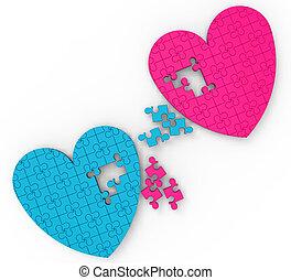 dos corazones, rompecabezas, exposiciones, romance, y,...