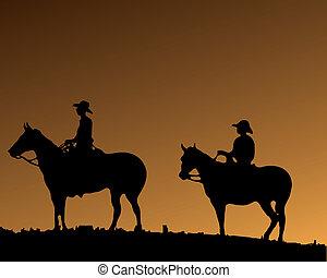 dos, cowboy\'s, en, dos, caballos
