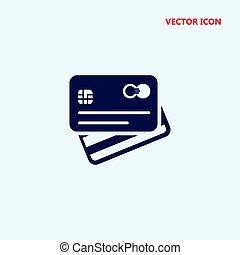 dos, crédit, vecteur, vue frontale, carte, icône