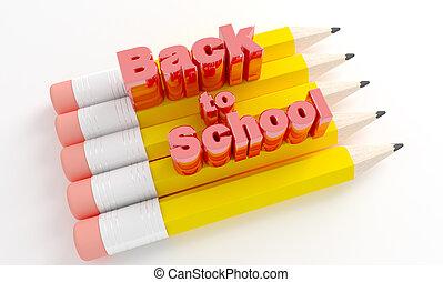 dos, crayons, school., texte