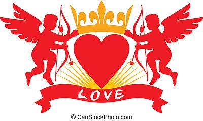 dos, cupidos, corazón, y, corona