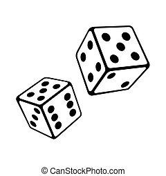 dos, dados, cubos, blanco, fondo., vector