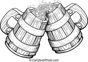 dos, de madera, jarras, cerveza