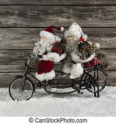 dos, divertido, santa claus, en, un, tándem, en, apuro, para, navidad, shoppin