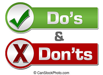 Dos Donts Red Green Button Style - Dos and Donts conceptual ...