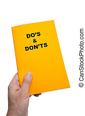 Do's & Don'ts Book with white background