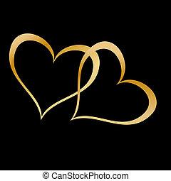 dos, dorado, corazones, en, negro