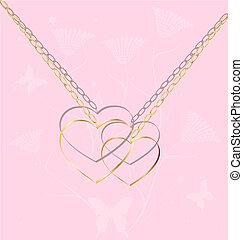 dos, dorado, corazones, en una cadena