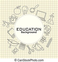 dos, education, school., carte, icônes