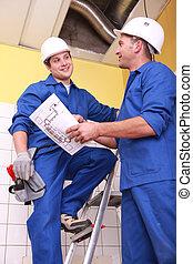 dos, electricista, reparación, techo
