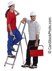 dos, electricistas, blanco, plano de fondo
