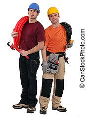 dos, electricistas, herramientas