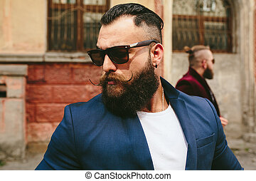 dos, elegante, barbudo, hombres