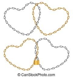 dos, en forma de corazón, cadena