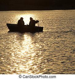 dos, en, un, barco