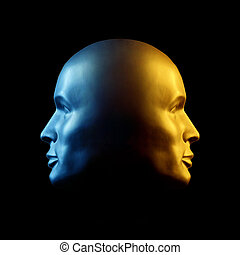 dos encarado, cabeza, estatua, azul, y, oro
