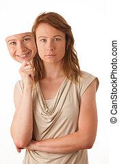dos encarado, mujer, insincero, hipócrita, mask., hembra,...