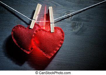 dos, encendido, corazones