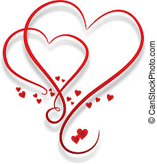 dos, entwined, corazones