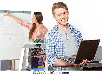 dos, estudiantes, con, tridimensional, impresora