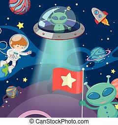 dos, extranjeros, y, astronauta, en, espacio