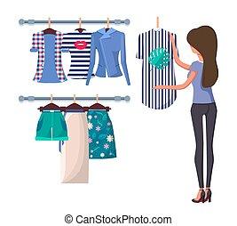 dos femme, aller, joli, achat, shopping., girl, vue