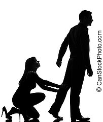 dos, femme homme, silhouette, fond, conflit, couple, isolé, partir, studio, tenue, blanc, une, caucasien, séparation