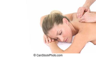 dos, femme, réception, masage, jeune