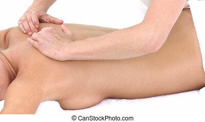 dos, femme, réception, masage, séduisant