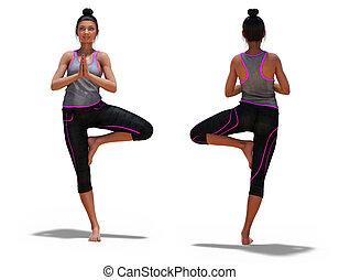 dos femme, yoga, poses, devant, pose, arbre