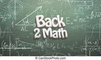 dos, fond, formule, closeup, texte, mathématique, école, tableau noir, éléments, math, animé