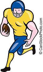dos, football américain, courant, dessin animé