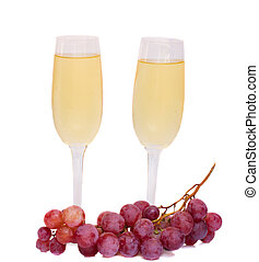 dos, gafas vino, con, uva