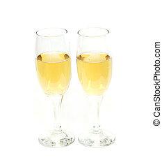 dos, gafas vino