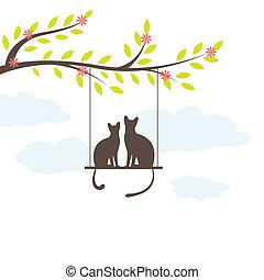 dos, gato negro, en, swing., vector, illuatration