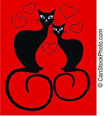 Gatos Amor Dos Love Dos Ilustración Siluetas Vector Gatos