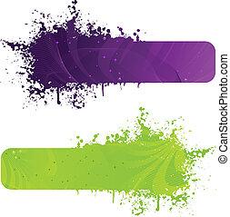 dos, grunge, bandera, en, púrpura, y, verde, colores