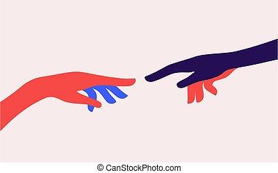 dos, hands., creación, adán