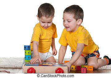 dos, hermanos, juego, bloques
