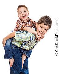 dos, hermanos, jugar juntos