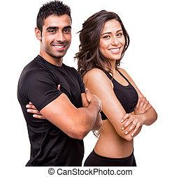 dos, hermoso, condición física, instructores