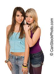 dos, hermoso, mujeres jóvenes