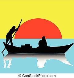 dos, hombre, en, barco, ilustración