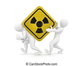 dos hombres, con, simbol, de, radiación