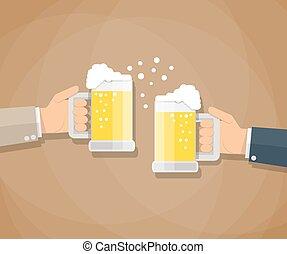 dos, hombres de negocios, brindar, copas de cerveza