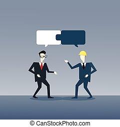 dos, hombres de negocios, cobrar, rompecabezas, trabajo en equipo, exitoso, equipo negocio, desarrollo, crecimiento