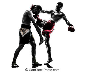 dos hombres, ejercitar, tailandés, boxeo, silueta