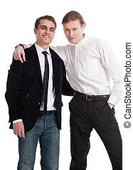 dos, hombres jóvenes