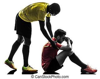 dos hombres, jugador del fútbol, juego limpio, concepto, silueta