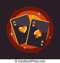 dos, ilustración, fondo., naipe, brillante, plano, póker, ...